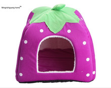 1PC Pet Cat House Foldable Soft Winter Leopard Dog Bed Strawberry Cave Dog House Cute Kennel Nest Dog Fleece Cat Bed OZ 001(China)