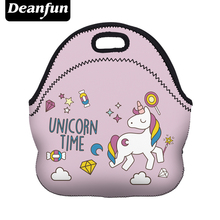 Deanfun Neoprene Lunch Bag 3D Printed Unicorn Time Portable for Women Picnic Snack 73003(China)
