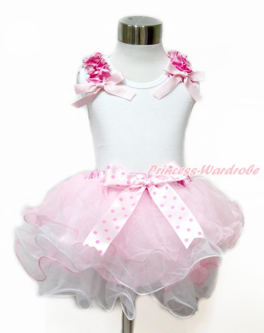 Easter Plain Style Tank Top Hot Pink Bow Light Pink Bow White Light Pink Petal Pettiskirt MAMG1103<br><br>Aliexpress