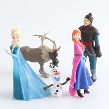 Disney Toys 5pcs/Lot  Anime Frozen Anna Elsa Figures Kristoff Sven Olaf PVC Action Figure Toy Play Set Classic Toys Juguetes