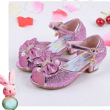 Girls sandals 2016 high heels children fashion princess leather summer elsa shoes chaussure enfants fille sandalias nina 036