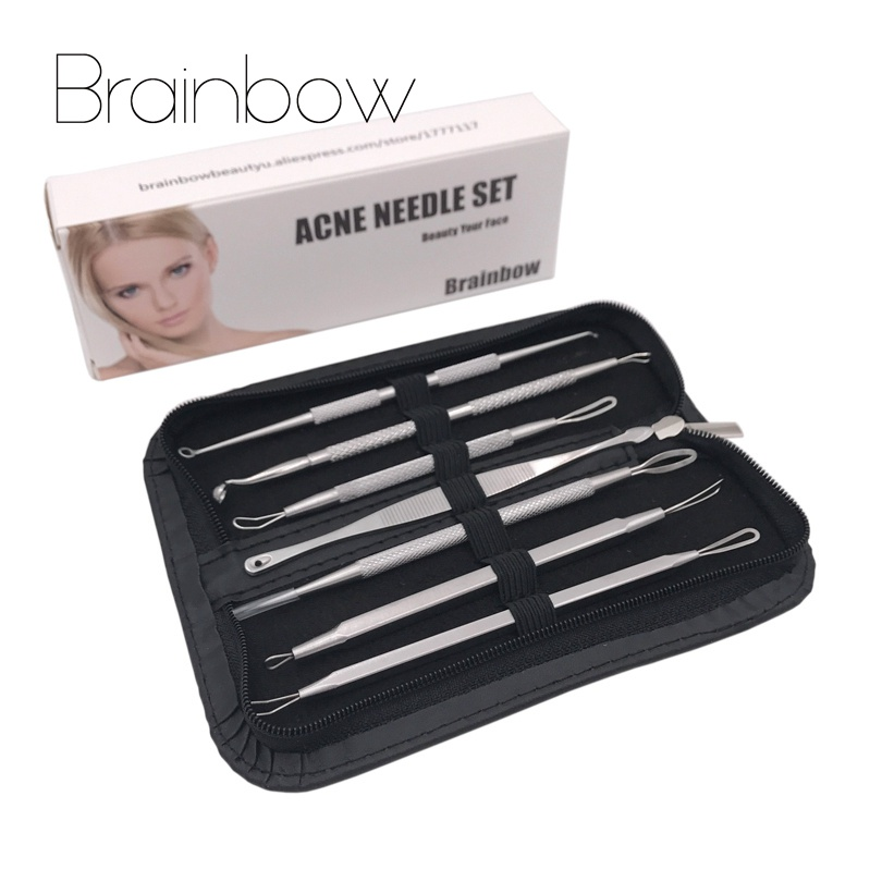 Brainbow 7pcs Antibacterial Blackhead Removal Set Steel Blemish Acne Pimple Extractor Tools Face Skin Care Facial Pore Cleaner 4