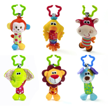 6pcs Baby 0+ Plush Toy Crib Bed Hanging Ring Bell Toy Soft Baby Rattle Animals Dog Elephant Monkey Lion Early Educational Doll(China)