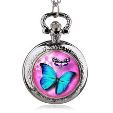 2017 Blue Butterfly Flower Pocket Watch Necklace Pendant Girl Lady Womens New(China)