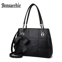Bonsacchic Black Bags Women Leather Handbags Fashion Bao Bao Bag Designer Handbags High Quality Hand Bag Woman bolsas feminina(China)