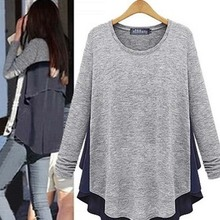 Maternity Sweater Casual Faux Two Pieces Long Sleeve Gray Maternity Pullover Sweatshirt Patchwork TPlus Size Pregnant Clothes