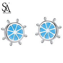 SA SILVERAGE Real 925 Sterling Silver Stud Earrings Butterfly Buckle Orange Shape Blue Beauty Rudder Helm Earring Gift for Girl(China)