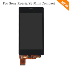 For Sony Xperia Z3 Compact LCD Display Z3 mini LCD D5803 D5833 Touch Screen Digitizer Black White, free shipping