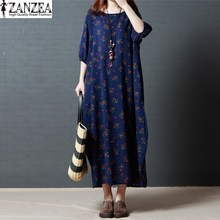 Tops Blusas ZANZEA Women 3/4 Lantern Sleeve Cotton Linen Summer Beach Evening Party Long Maxi Dress Kaftan Boho Vestido