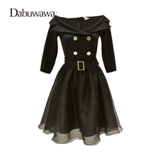 Dabuwawa Autumn Half Sleeve Sexy Little Black Dress For Formal Party Off Shoulder Dress Women Vintage Dress(China)