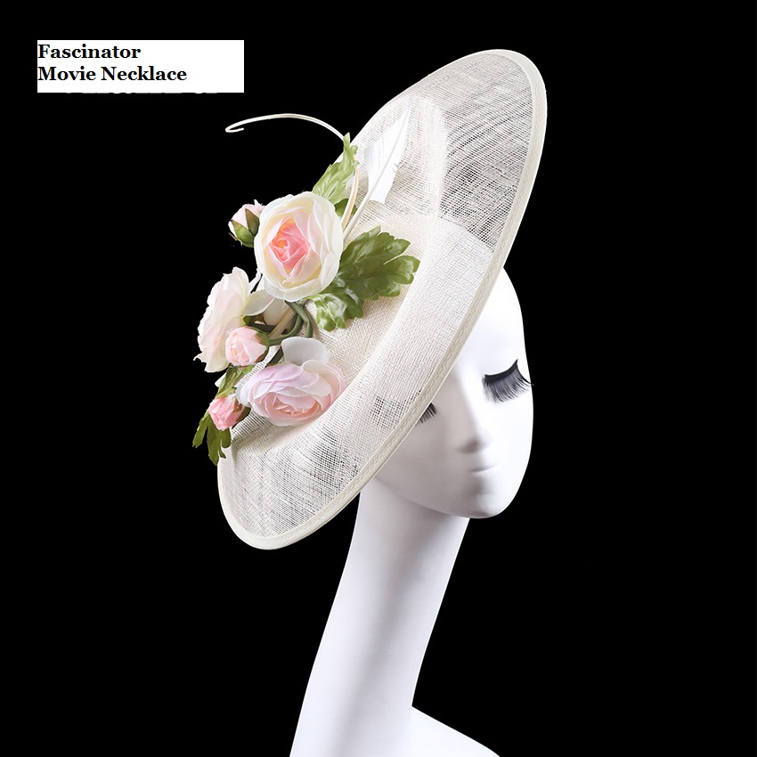 New Brand Quality Women Large Feather Sinamay Fascinator Artificial Flower Wedding Bride Hats Fascinator Bridal Haircllip<br><br>Aliexpress