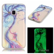 New Fashion Luminous night Slim phone Cases for Samsung Galaxy J1 2016 J120F J120  Fluorescence Soft TPU Silicon back cover skin
