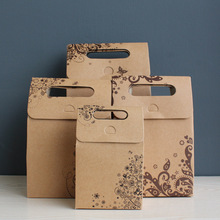 10 Pcs Brown Kraft Paper Bag with Handles Flower Pattern Bags Cookie Treat Candy Envelope Wedding Gift for Guests Wrapping Bags(China)