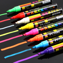 8 Color Erasable Oblique Highlighter Pen Set 6mm Liquid Chalk Fluorescent Neon Marker LED Window Glassboard Pens Free Shipping
