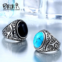 BEIER 2017 Natural Oval Opal Green Stone Ring Stainless Steel Vintage Nobel Palace Product For Woman Man Europe BR8-186(China)