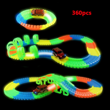 Hot, Flexible Glow Race Track Toy Electric LED Light Up Car Magic Truck Rail Machine Car Toys For Boys 360/238/128/110 PCS(China)