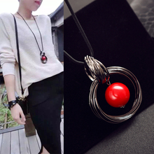 FAMSHIN New Hot New circles simulated pearl ball pendant long necklace women black chain fashion jewelry wholesale gift(China)