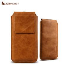 Jisoncase Pouch Bags for iPhone 7 7 Plus Case Genuine Leather Luxury Magnetic Closure Bag Cover for iPhone 7 7 Plus Phone Cases(China)