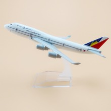 16cm Metal Plane Model Philippine Air Philippines B747 400 Airlines Boeing 747 Airways Aircraft Airplane Model w Stand(China)