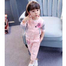 Baby Girl Clothing Suit 2018 Spring Casural Sports Wear Cardigan Suits Flower Toddler 1 2 3 4 Years Infant Girls Wear