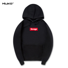 MIJKO Savage Hoodies Sweatshirt High Quality 1:1 Cotton Long Sleeves Hoody Savage Fashion Skateboard Suprem Hoodie Men Women