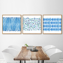 HAOCHU Ocean Blue Geometric Line Diamond Shape Minimalism Abstract Canvas Painting Wall Picture Hanging Poster for Home Decor(China)