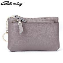 Women Mini Zero Wallet Ladies Double Zipper Genuine Leather Coin Purse Multi Functional Litchi Pattern Small Wallet Key Coin Bag(China)