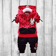 2 3 4 5 7 years baby girls cotton minnie clothes set 2pcs coat + pants kids autumn clothing set coat with zipper fress shipping