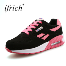 New Women Training Shoes Air Cushion Woman Sport Sneakers Brand 3 Colors Lace Up Gym Sneakers Girls Wearable Jogging Shoes(China)
