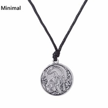 Minimal Punk Round Men Pendant Rope Chain Bear Necklace Lrish Knot Animal Jewelry Vintage Accessories For woman/men(China)