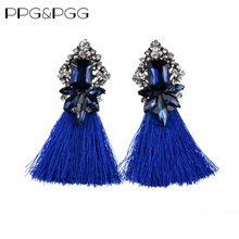 PPG&PGG Hot sale Fringed Tassel Fashion Women Statement Earrings Glass Crystal Earrings For Women Wedding Charm Jewelry(China)