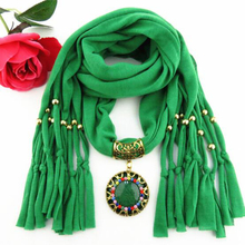 New fashion women pendant scarf Necklaces solid color polyester hot bandana colored diamond round pendant scarf A1006