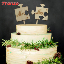 Tronzo Mr Mrs Wooden Wedding Cake Topper Lovely Wood Table Cake Decor(China)