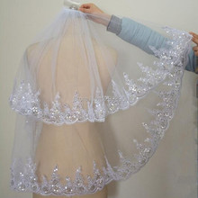 Real Photo Hot 2 Layer White Ivory Bridal Veil With High Quality With Applique Edge Wedding Veil In Stock