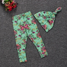 Baby Hat cap Infant Fashion Full pants flowers Printed Length Leggings Faux Cotton Skinny Pants Occident style 2pcs set outfits(China)