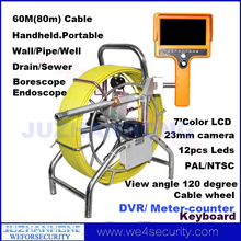 Portable Pipe Drain Video Inspection Camera DVR Recording 23mm Snake Camera Borescope Endoscope Keyboard 60Meter Cable