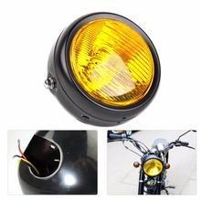 12V Amber Lens Retro Vintage Round Headlight Lamp Fit for Honda Motorcycle Motorbikes Metric Bikes Cruisers Choppers Cafe Racers