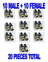 10 Male & 10 Female 3 Pin XLR Connectors for Microphone Mic Cable serviceable(China)