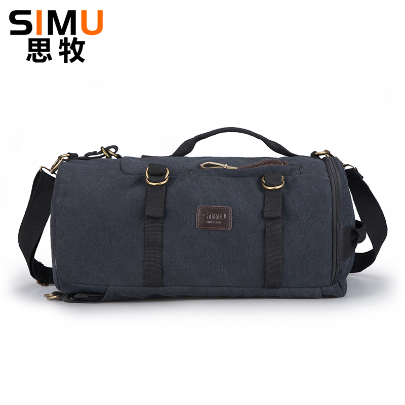 SiMu Canvas Backpack Big Capacity Man Travel Bag New Design Cylinder Package Multifunction Rucksack Male Fashion Backpack<br>