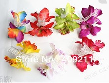 NEW ARRIVAL! FREE SHIPPING 100PCS /lot   KL36009  9X10CM  2pcs  silk  Orchid hair claw 10 colors mixed Hawaii Bridal  flower