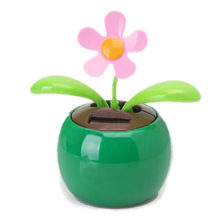 Flip Flap Solar Powered Flower Flowerpot Swing Dancing Toy Novelty Home Ornament - Green