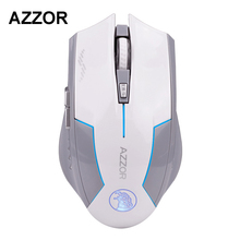 AZZOR Rechargeable Wireless Illuminate Computer Mouse Mice Laser Gaming 2400 DPI 2.4G FPS Gamer Silence Lithium Battery Build-in