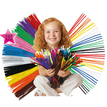 100pcs Montessori Materials Chenille Children Educational Toy Crafts For Kids Colorful Pipe Cleaner Toys Craft(China)