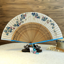 Hand Fan Christmas Silk Lady Fan And Japanese Folding Fan Dance Fan Print Folding Carved Decoration Wedding Gift & Party Favors