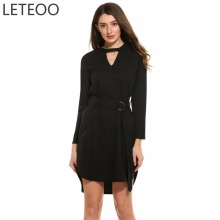 LETEOO New Women Casual Hollow Out V-Neck Tunic Long Sleeve Irregular Hem Sexy Party Club Dress with Belt Nightclub Clothing L3