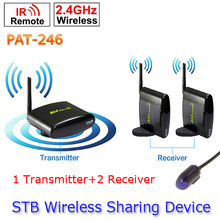 1 Transmitter to 2 Receiver PAT-246 Smart 2.4GHz Wireless 250m AV TV Sender wireless ir remote extender For HDTV 8 Channel(China)