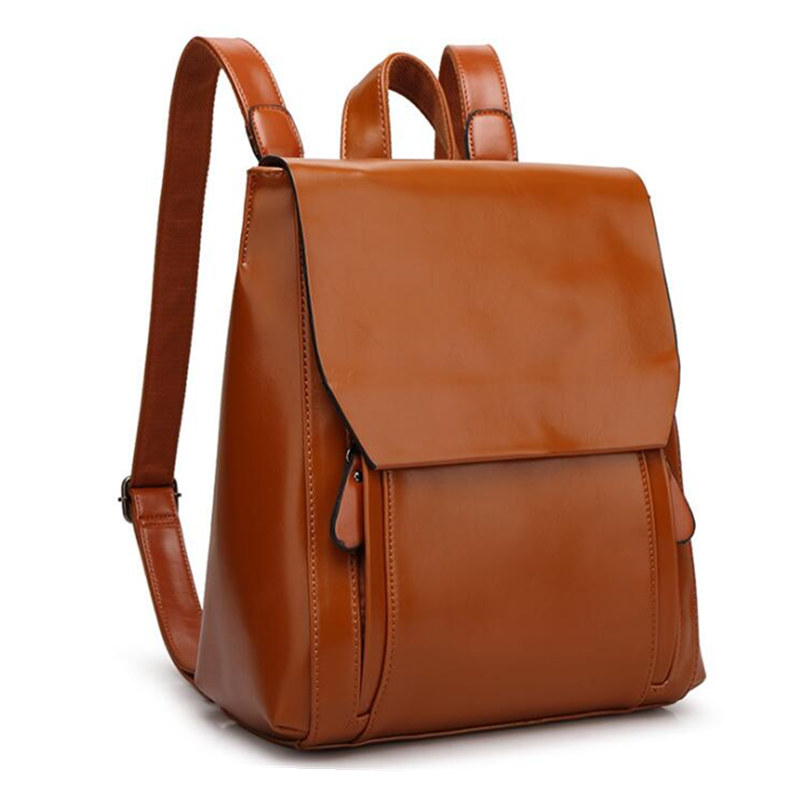 2016 Fashion High quality Womens PU Leather Bags brand design women backpack ,  female oil wax leather bag<br>