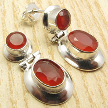 Silver Plated Red CARNELIAN 2 Stone Well Made HINGE STUD Earrings 2.5 cm