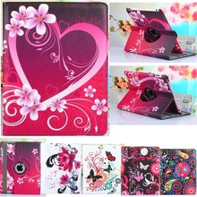 360 Degrees Rotate Lovely Tablet Case For Apple Ipad Air 1 Case Stand PU Leather Cover For Apple Ipad 5 Case Flower Girl Strap(China)