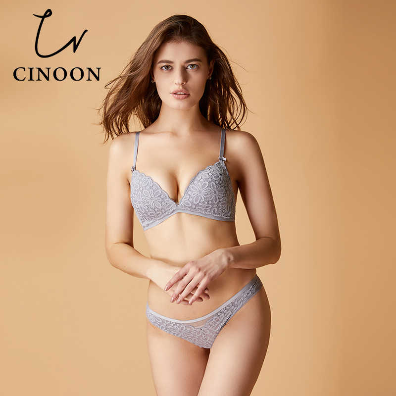 7190389c66 CINOON Sexy lace bra set cotton brassiere Triangle cup lingerie Comfortable  underwear solid color push up